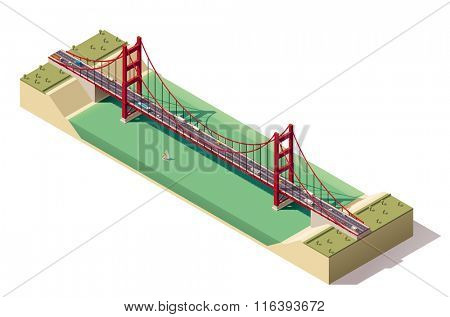 Isometric suspension bridge over the river