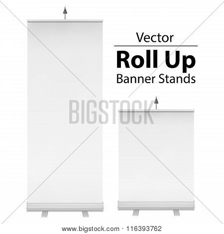 Blank Roll Up Banner Stand. Vector