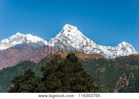 Annapurna Mountain Range In Nepal