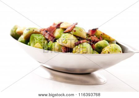 Fried Brussels Sprouts With Chopped Bacon