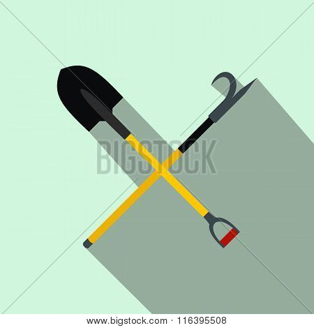 Shovel and scrap flat icon