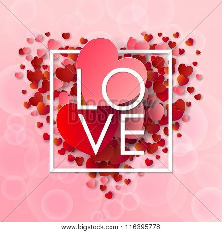 Happy valentines day and weeding background. Vector illustration. Design elements pink and red Hearts. Love