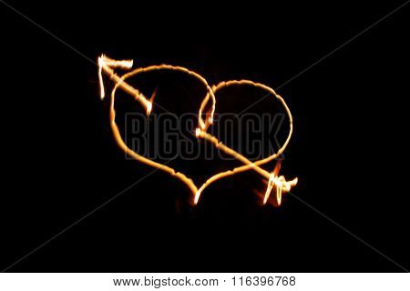 Flaming Arrow Pierced Heart  On Black