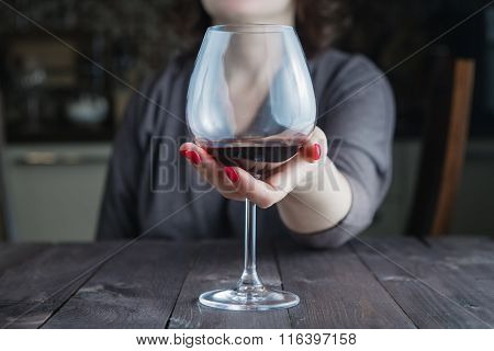 Female Take Wine Glass