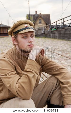 Retro Style Picture With Resting Soldier.