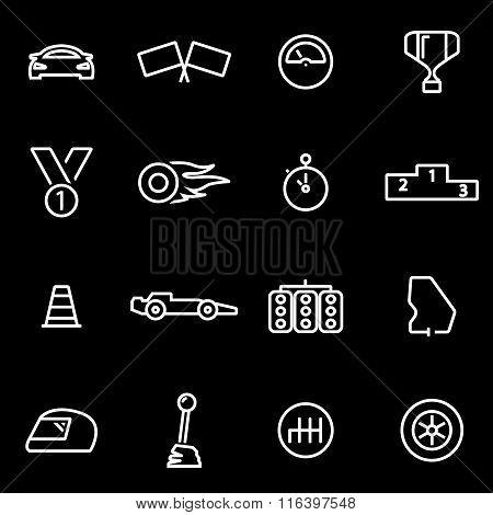 Vector Line Racing Icon Set