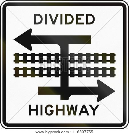 United States Mutcd Road Sign - Divided Highway