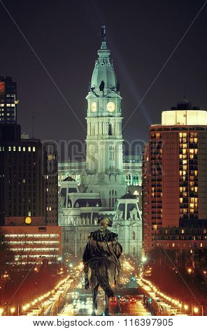 George Washington statue and City Hall at night in Philadelphia