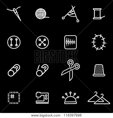 Vector Line Sewing Icon Set