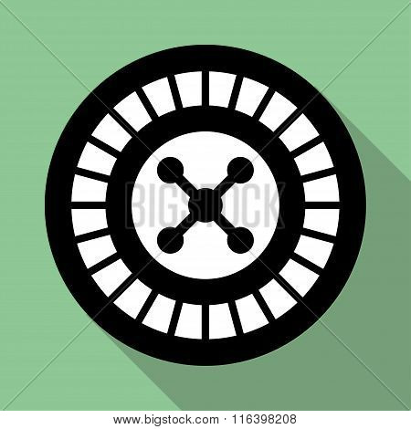 Casino Roulette Wheel Flat Icon