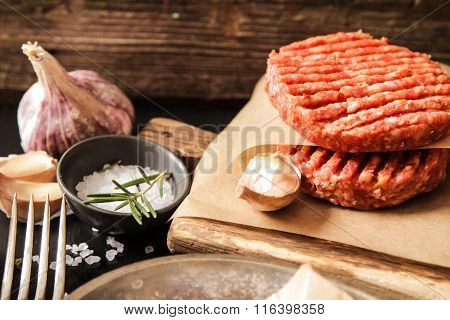 Raw Ground Beef Meat Burger Steak Cutlets