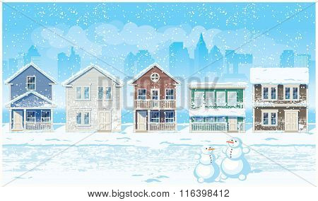 Suburban Street In Winter
