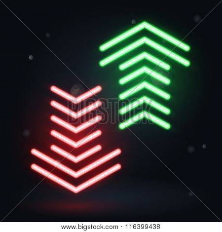 Vector Neon Illustration, Up And Down Arrows On Dark Background
