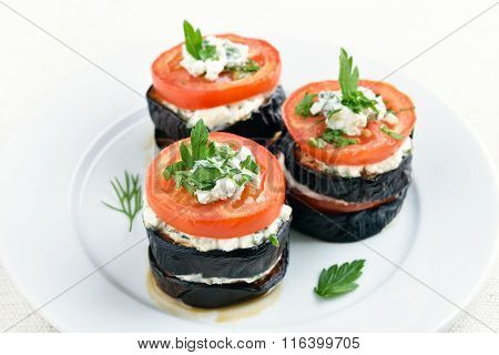 Eggplant, Tomato And Curd Cheese Appetizers
