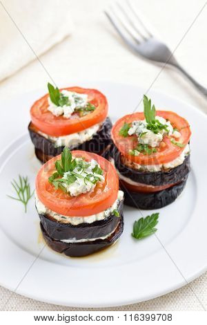 Appetizer Eggplant With Tomatoes, Curd Cheese And Herbs
