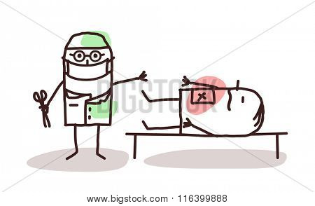 vector cartoon surgeon with patient on a table