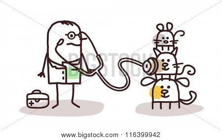 vector cartoon veterinary with pets