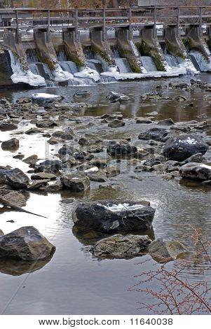 River Dam In The Winter