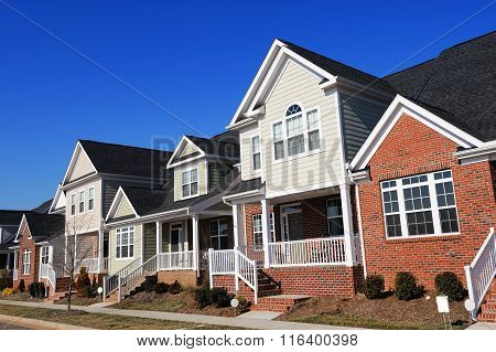 townhouse in a row in sunny day, North Carolina