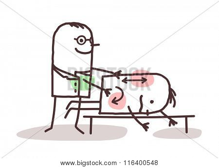 vector cartoon physiotherapist with patient