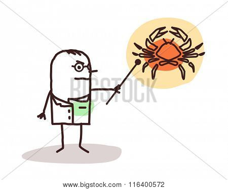 vector cartoon doctor with cancer sign