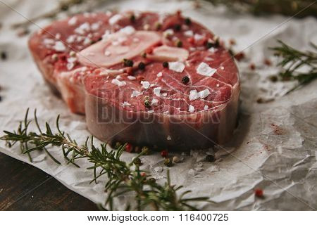 Food Set, Spices, Raw Steak, Closeup