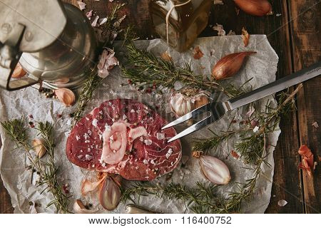 Food Set, Spices, Raw Steak, Topview