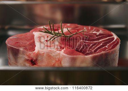 Closeup Raw Angus Leg Steak In Silver Steel Pan