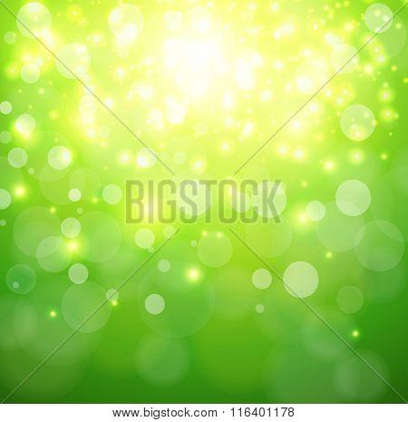 Green sunny background, glittering defocused bokeh, vector illustration.