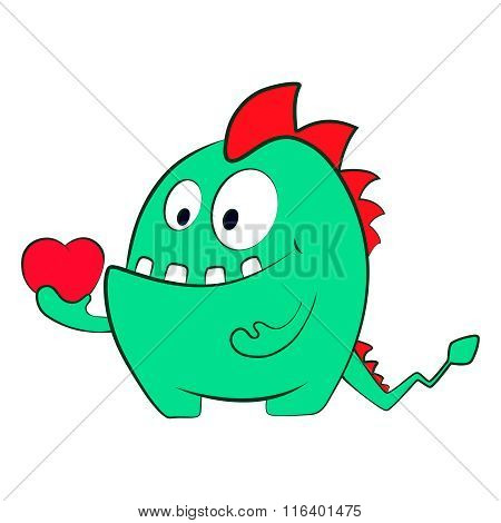 Valentine love monster dragon with heart. Isolated cartoon illustration.