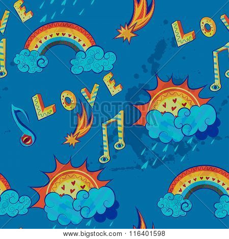 pattern with love, music and weather symbols