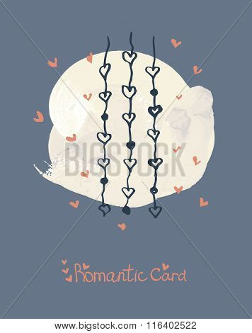 hand drawing illustration. Hand painted brush strokes and dabs. romantic card with heart