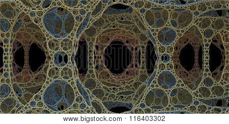 Dark Fractal Illustration Of Perforated Cell-like Cave