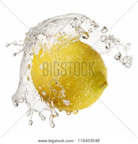 Yellow Lemon In Splash Of Water