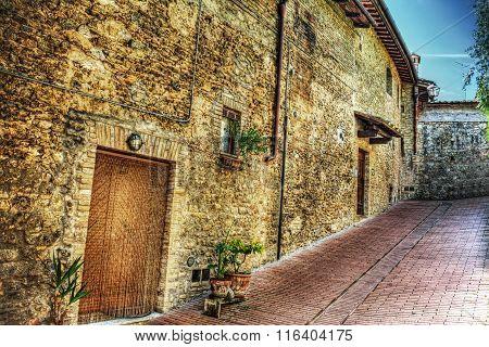 Brick Facade In A Narrow Street In San Gimignano