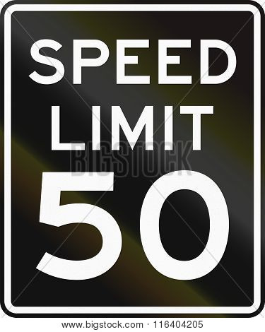 Speed Limit Road Sign In The United States With Black Background And White Symbols