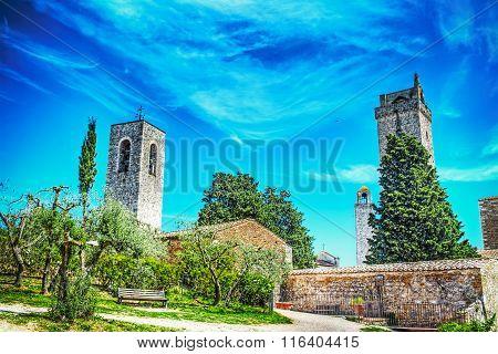 San Gimignano Landscape On A Clear Spring Day