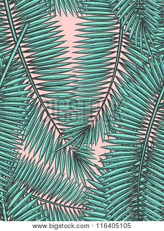 Seamless pattern with palm leaves in sketch style