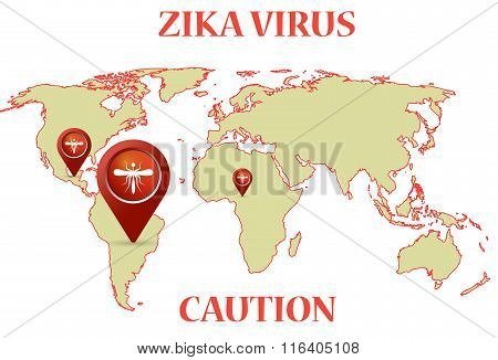 Zika Virus with mosquito earth map infographic
