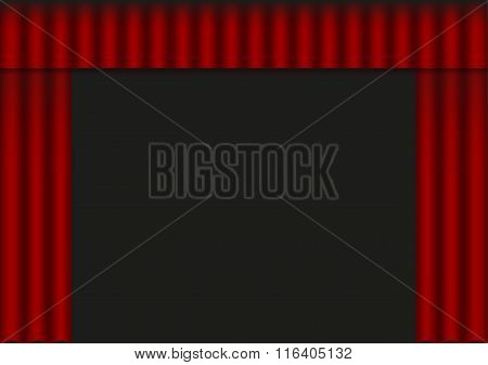 Illustration Of Red Open Curtain (drapery)