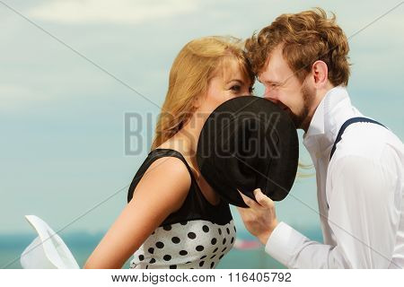 Loving Couple Retro Style Kissing On Date Outdoor