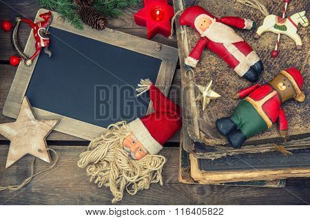 Christmas Decoration Vintage Toys And Books