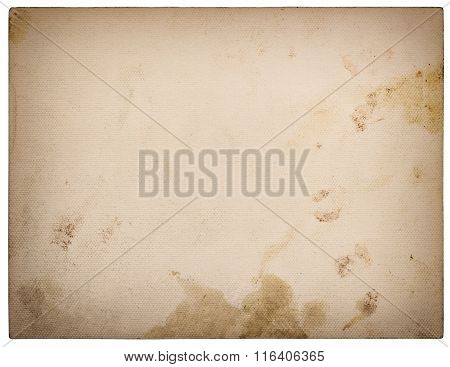 Used textured paper cardboard isolated on white background. Retro style toned with vignette