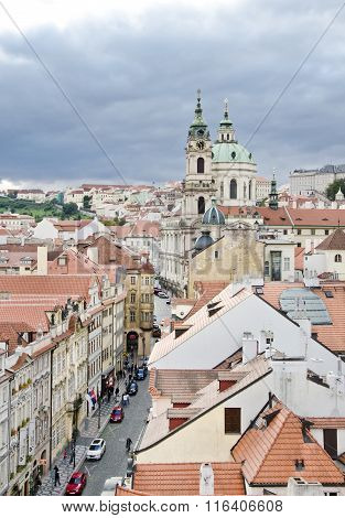 Prague. View From The Little Quarter Bridge Tower To The Cathedral Of St. Nicholas