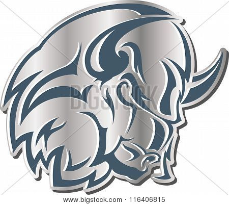 Monochrome Vector Illustration - Icon: The Head Of Furious Bull.
