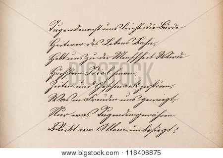 Old calligraphic manuscript. Vintage paper texture background