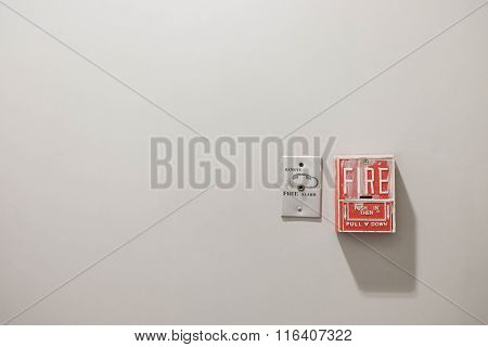 Fire Alarm System And Telephone Connector Port With Separate Clipping Paths, Copy Space On Concrete