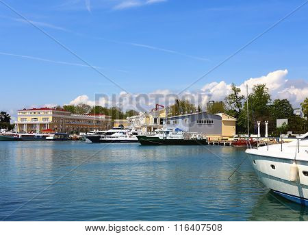 SOCHI  - MAI 17: Marine yachts and passenger vessels at berth on the background of the sea passenger port  - on Mai 17, 2015 in Sochi
