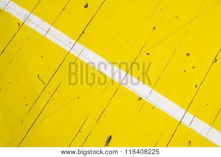White Stripe On Yellow Floor