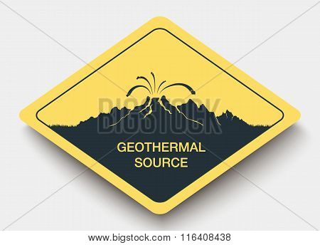 sign geothermal source and energy.